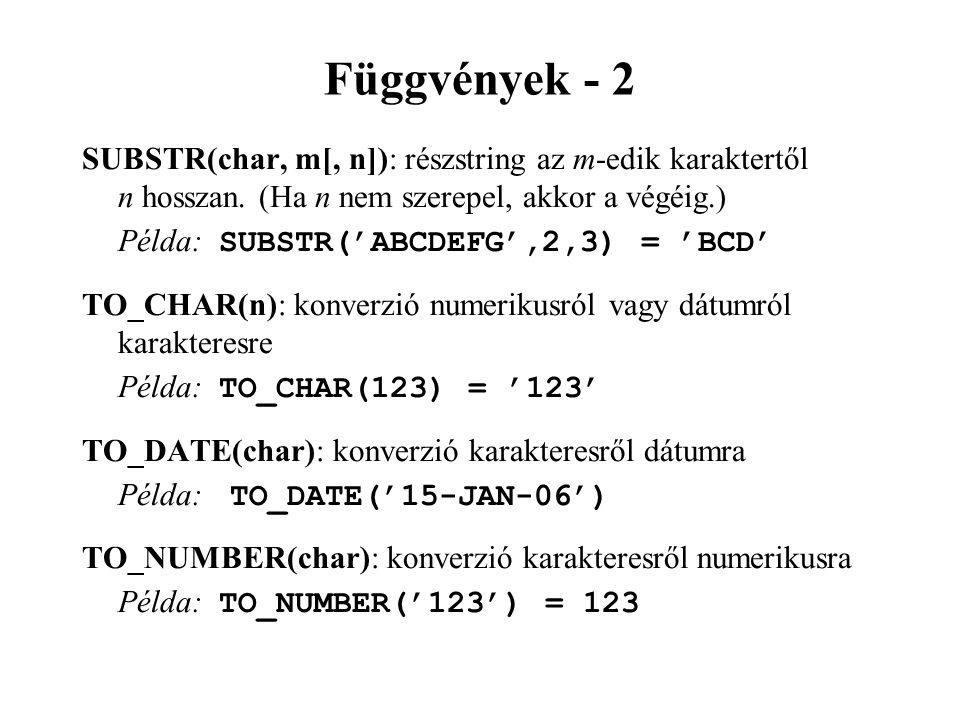 Függvények - 2 SUBSTR(char, m[, n]): részstring az m-edik karaktertől n hosszan. (Ha n nem szerepel, akkor a végéig.)